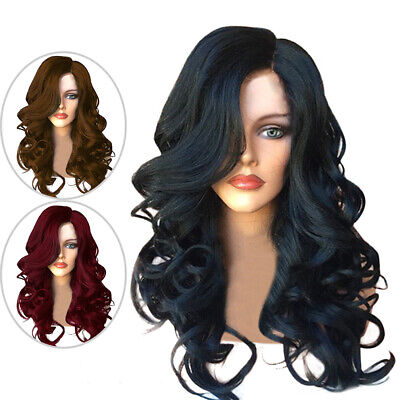 Stylish Ladies Brazilian Black Brown Wine Red Long Curly Wig Wavy Hair For Women
