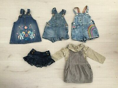 Baby Girls Denim Dungaree / Pinafore Bundle Age 9 - 12 Months (All Next & Gap)