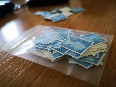 50 2nd Class Stamps Unfranked No Gum Off Paper blue colour Free post Good Price