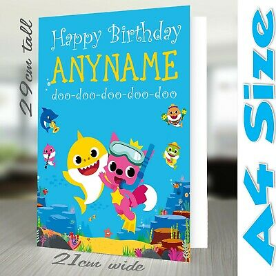 BABY SHARK A4 Personalised Birthday Card Son Daughter Sister Brother Grandson