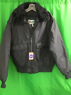 e4505bac890d3 NEW Timber King Military Faux Fur Collar Navy Bomber Jacket Police Sheriff  Law