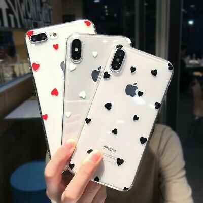 For iPhone XS Max XR 7 Plus X Shockproof Clear Hybrid TPU Love Heart Case Cover