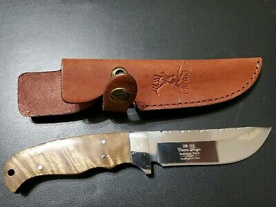 Real Burl Wood Fixed Blade Knife with Leather Sheath Camping Hunting Full Tang