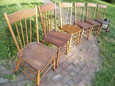 Set Of 6 Press Back Chairs Farmhouse Rustic Primitive good to paint