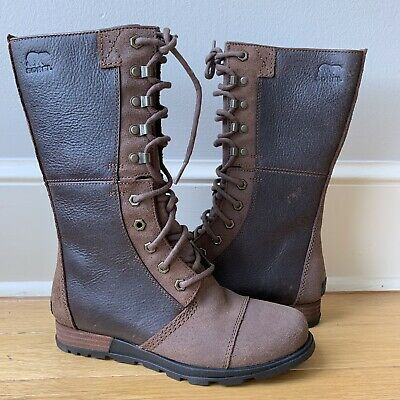 Sorel Major Maverick Tobacco Brown Leather Winter Snow Boots Size 8.5