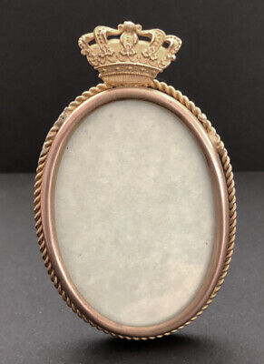 Vintage Late 19th Century Gilt Oval Brass Frame With Crown onTop