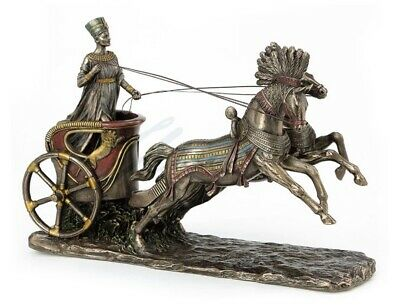 Nefertiti Driving Chariot of Horses Egyptian Queen Statue