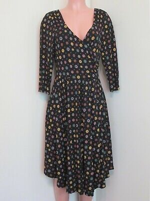 bb5b4569cd43e Maeve Anthropologie Rayon Black Multi-Color Abstract Faux Wrap Dress, L