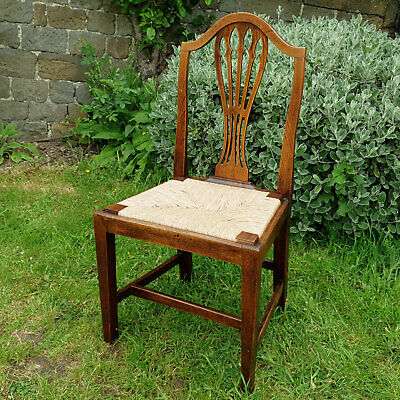George III Chippendale Elm & Rush Country Kitchen Dining Chair C1800 (Georgian)