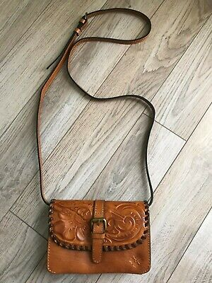 3f9751b09 PATRICIA NASH TORRI Tooled Leather Crossbody Bag/Brown Turquoise ...