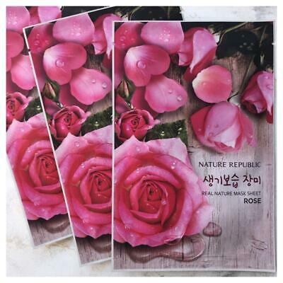 NATURE REPUBLIC REAL NATURE Gesichtsmaske TUCHMASKE ROSE Feuchtigkeit revitalis