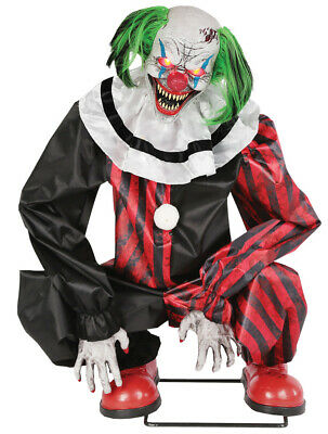 Halloween Lifesize Animated CROUCHING RED CLOWN CEMETERY Prop Haunted House NEW