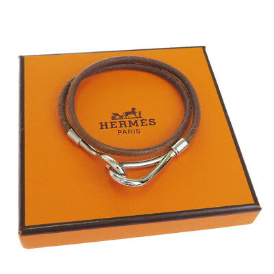 Authentic HERMES Logo Bracelet Bangle Leather Brown Silver Accessory 02EJ721