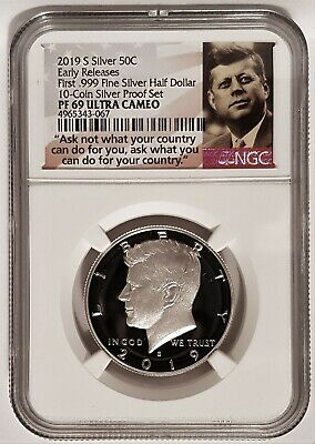 2019-S 50C SILVER Proof Kennedy Half Dollar First 999 NGC PF69 UC PORTRAIT LABEL