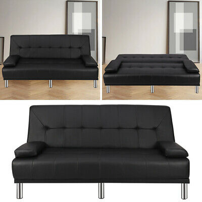 Occasional Folding Sofa Bed Leather Bedroom Bench recliner Padded Black Chaise