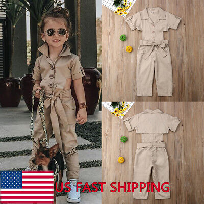 3c1f32934 Boutique Toddler Kids Girls Denim Strap Bib Pants Romper Jumpsuit Outfit  Clothes