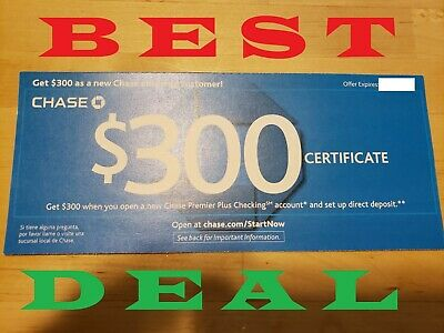 CHASE $300 Checking Bonus Offer Coupon Voucher Exp: 8/26/19 Fast Delivery