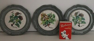 Pewter Coasters Ceramic Riesling Silvaner Wine Grapes Wall Vintage Zierteller
