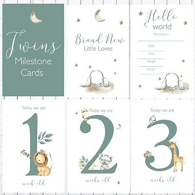 Twins Milestone Cards, 4x6 Photo Prop, 37 Cards, Sweet Jungle Animals
