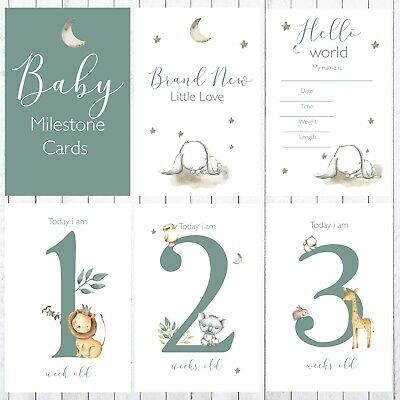 Baby Milestone Cards, 4x6 Photo Prop, 35 Cards, Sweet Jungle Animals