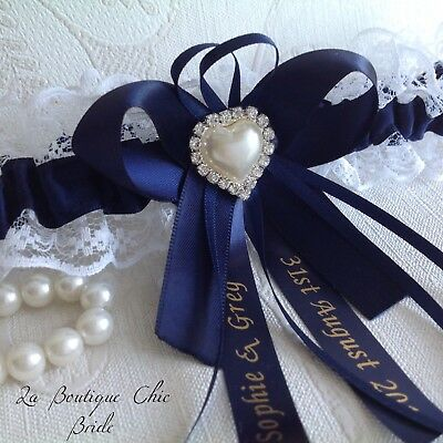 XS S M L XL Personalised Navy Wedding Bridal Bride Garter White Lace Satin Pearl