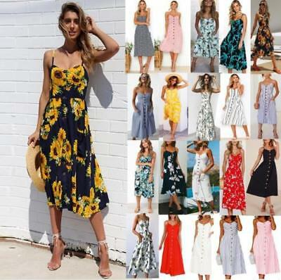 ba0a30e4f87fb UK BOHO Womens Ladies Summer Beach Midi Dress Holiday Strappy Button Sun  Dresses