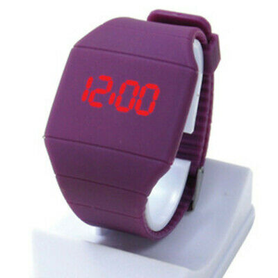 Boy Girl Touch Red LED Digital Display Silicone Sports Gift Wrist Watch