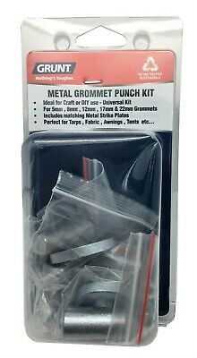 Grunt METAL GROMMET PUNCH KIT For 5mm, 8mm, 12mm & 17mm Grommets *Aust Brand