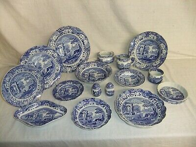 C4 Pottery Spode Italian - design from 1816, stamps vary - plates bowls jug 8A3A