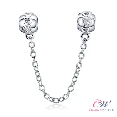 Safety Chain Genuine 925 Sterling Silver Crystal Hearts for Charm Bracelet 💞