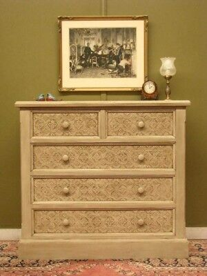 Antique Style 5 Drawer Storage Chest: Aged Finish, Embossed Feature To Drawers