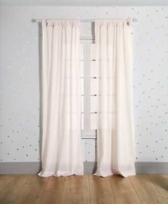 BNWT MAMAS AND PAPAS PINK JACQUARD VOILE TAB TOP CURTAINS 105 x 220cm