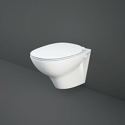 RAK Morning Rimless Wall Hung Toilet With Exposed Fitting Soft Close Seat