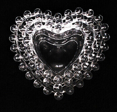 Imperial Glass Candlewick Clear Nesting Heart Shape Bon Bon Candy Dishes ~ Euc