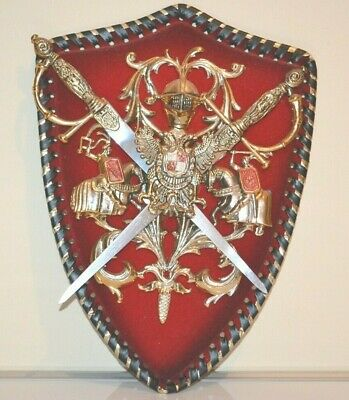 Vintage Knight Medieval Coat of Arms Shield Plaque Wall Hanging 31cm Tall