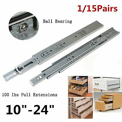 """10-24"""" Grooved Ball Bearing Replacement Slides Drawer Runners Kitchen 250-600mm"""