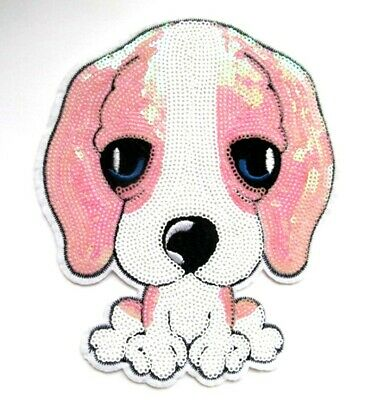 Extra Large Sequin Puppy Dog Iron On Patch-  18 x 15cm Cute Applique Badge