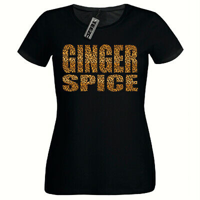Leopard Print Ginger Spice Tshirt, Ladies Fitted Tshirt,Girls T Shirt