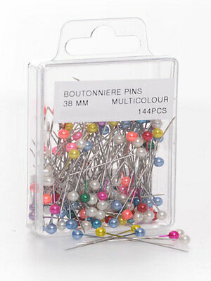 Pearl Or Boutonniere Pins Box Of 144 Assorted Colours 38mm Floral Art And Crafts