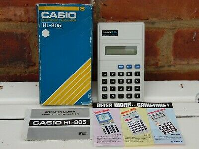 VINTAGE ORIGINAL CASIO HL-805 ELECTRONIC CALCULATOR 1980's BOXED