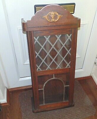 (#84) Stunning  Wooden wall unit with leaded pattern glass  (Pick up only)
