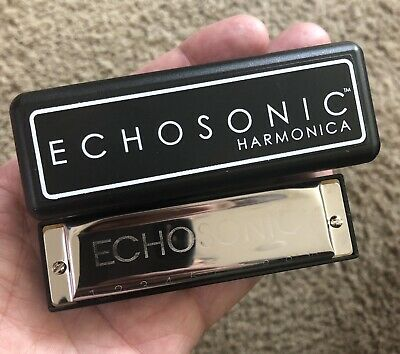10 Hole Echosonic Harmonica Key of G - Case and Cleaning Cloth Included