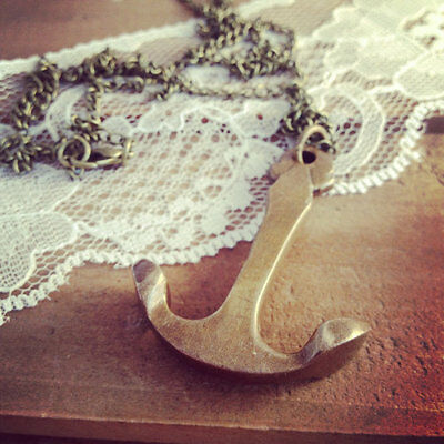 Vintage Style Solid Antique Brass Anchor Pendant Charm Necklace Nautical Chain