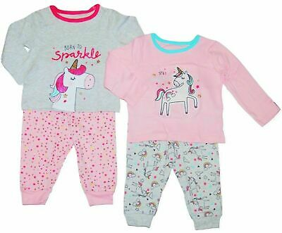 Girls Baby Toddler 2 Pack Unicorn Pyjamas Pjs Soft Cotton Set Newborn - 3 Years
