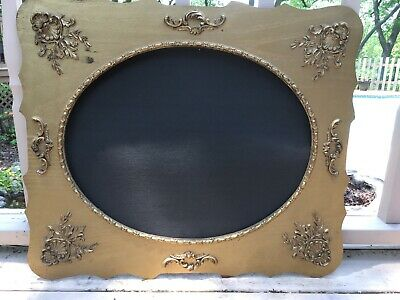 Vintage Antique Gold Gilt Ornate Wooden Oval Circle Frame 26x22 Rococo Baroque