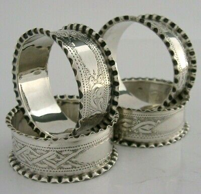 Pretty Victorian Set Of Four Sterling Silver Napkin Rings 1900 Antique