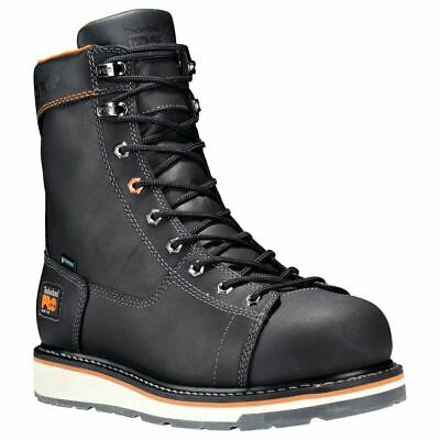 """Mens Timberland Pro Gridworks 8"""" Alloy Toe Waterproof Black Boots"""