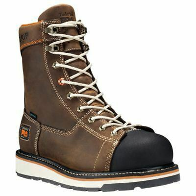 """Mens Timberland Pro Gridworks 8"""" Soft Toe Waterproof Brown Boots"""