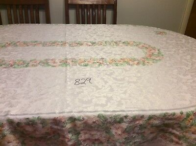 """Oval Tablecloth Vintage 84""""X58"""" White & Silver Damask With Floral Pattern"""