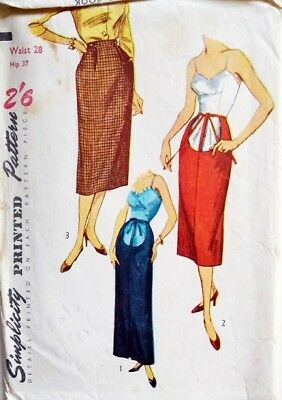 08b5214bb3a17 Part UNCUT Simplicity 4004 Vintage 50s Maternity Slim Pencil Skirt Pattern